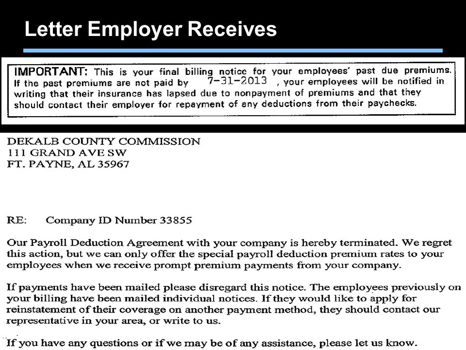 Agent training only. Not for sales use. Letter Employer Receives