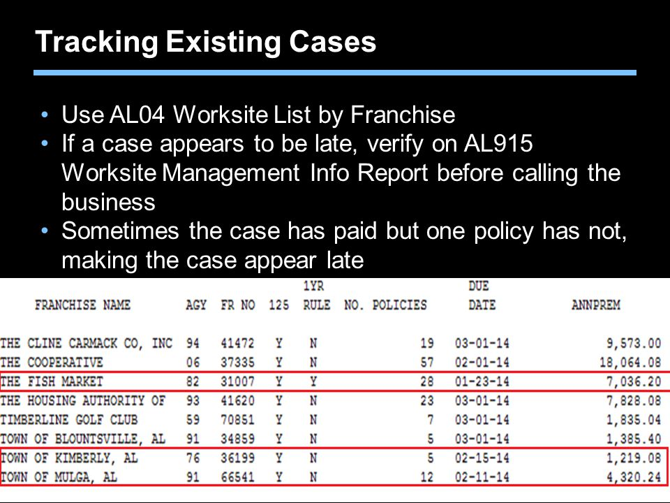 Agent training only. Not for sales use. Tracking Existing Cases Use AL04 Worksite List by Franchise If a case appears to be late, verify on AL915 Work