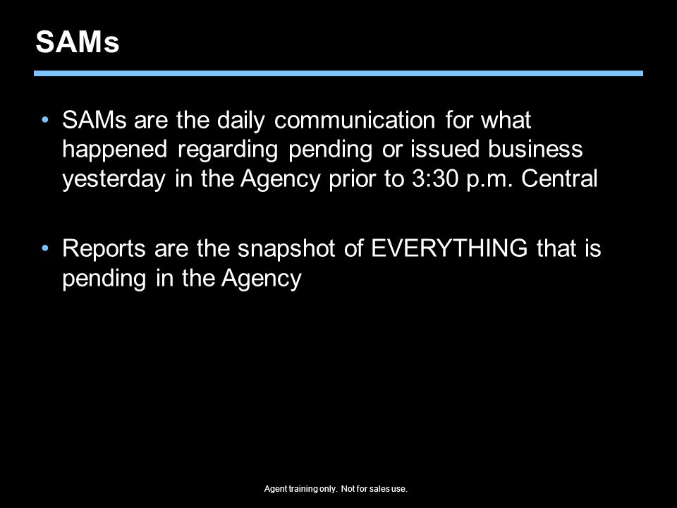 SAMs SAMs are the daily communication for what happened regarding pending or issued business yesterday in the Agency prior to 3:30 p.m.