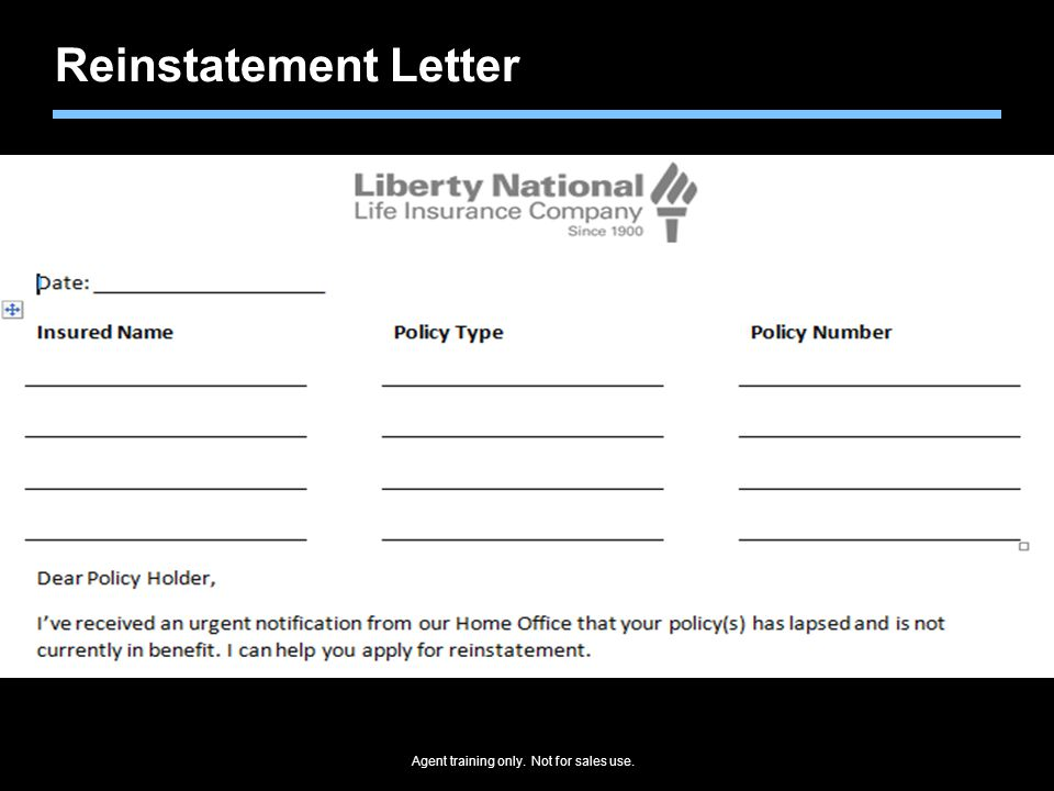 Agent training only. Not for sales use. Reinstatement Letter