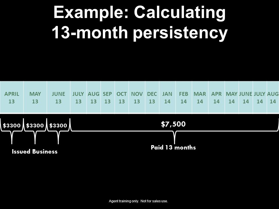 Example: Calculating 13-month persistency APRIL 13 MAY 13 JUNE 13 JULY 13 AUG 13 SEP 13 OCT 13 NOV 13 DEC 13 JAN 14 FEB 14 MAR 14 APR 14 MAY 14 JUNE 14 JULY 14 AUG 14 Paid 13 months $7,500 $3300 Issued Business