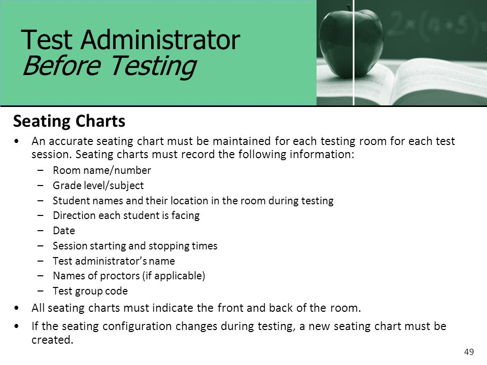 49 Test Administrator Before Testing Seating Charts An accurate seating chart must be maintained for each testing room for each test session.