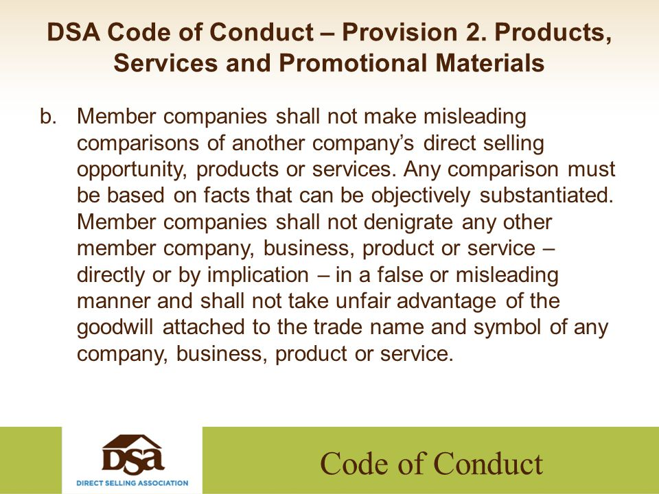Code of Conduct DSA Code of Conduct – Provision 2.