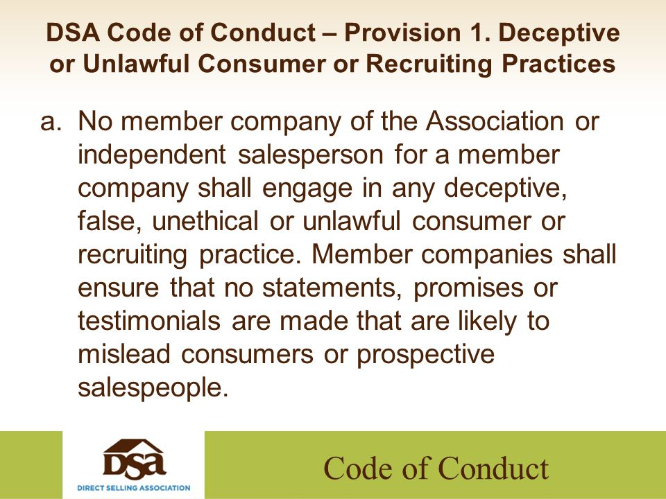Code of Conduct DSA Code of Conduct – Provision 9.