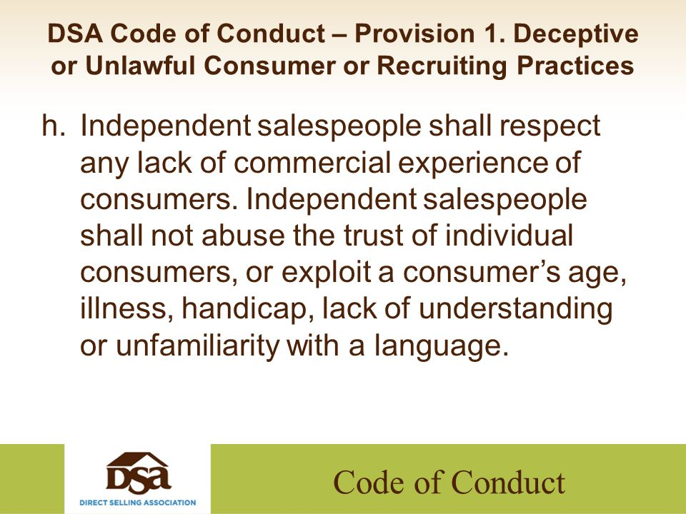 Code of Conduct DSA Code of Conduct – Provision 1.