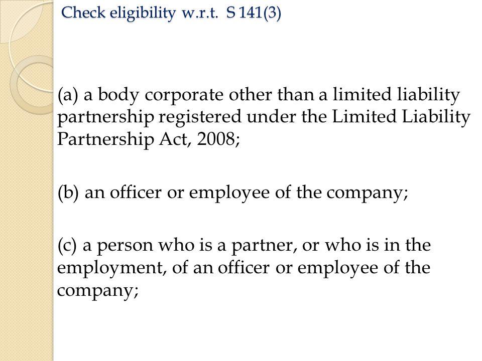 Check eligibility w.r.t.