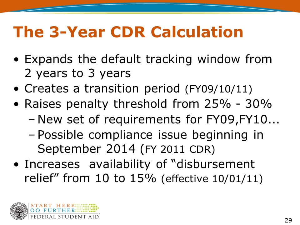 29 The 3-Year CDR Calculation Expands the default tracking window from 2 years to 3 years Creates a transition period (FY09/10/11) Raises penalty threshold from 25% - 30% –New set of requirements for FY09,FY10...