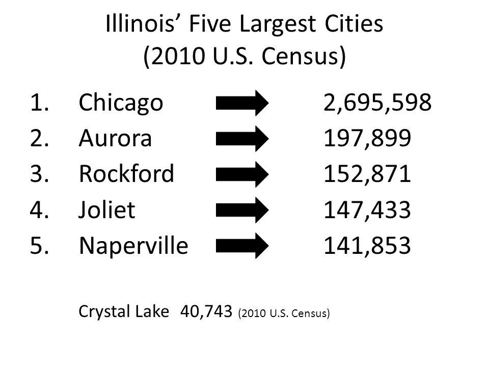 Illinois' Five Largest Cities (2010 U.S. Census) 1.Chicago 2,695,598 2.Aurora197,899 3.Rockford152,871 4.Joliet147,433 5.Naperville141,853 Crystal Lak