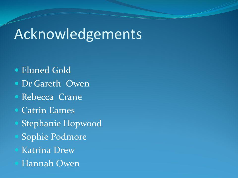 Acknowledgements Eluned Gold Dr Gareth Owen Rebecca Crane Catrin Eames Stephanie Hopwood Sophie Podmore Katrina Drew Hannah Owen