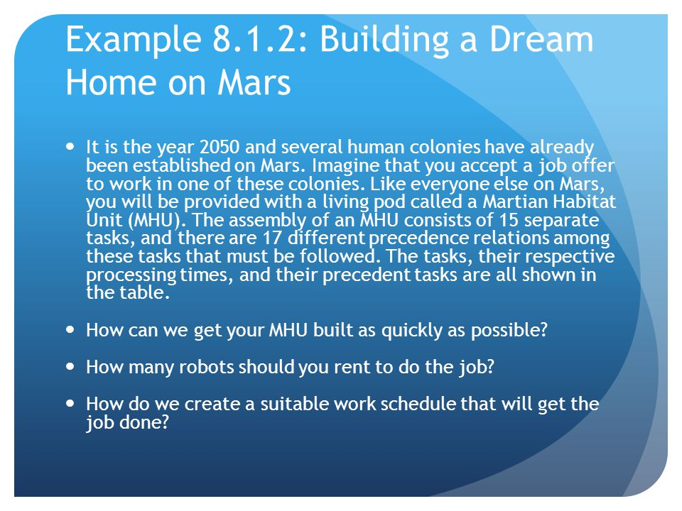 Example 8.1.2: Building a Dream Home on Mars It is the year 2050 and several human colonies have already been established on Mars.