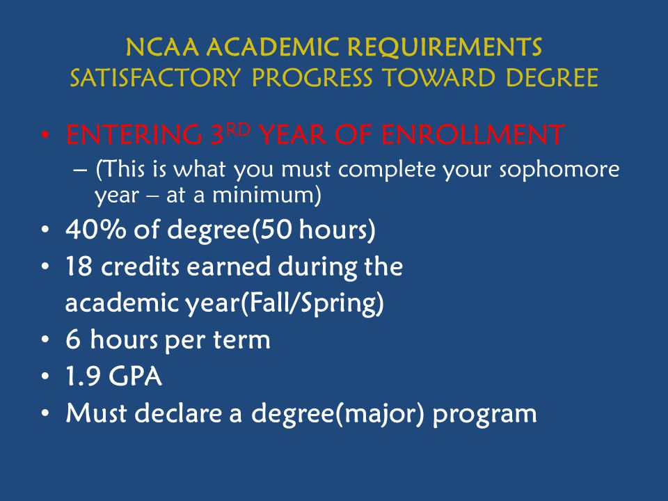 NCAA ACADEMIC REQUIREMENTS SATISFACTORY PROGRESS TOWARD DEGREE ENTERING 3 RD YEAR OF ENROLLMENT – (This is what you must complete your sophomore year