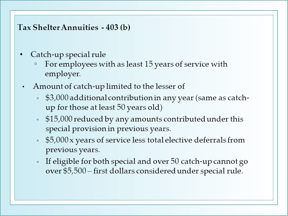 Tax Shelter Annuities - 403 (b) Amount of catch-up limited to the lesser of ◦ $3,000 additional contribution in any year (same as catch- up for those at least 50 years old) ◦ $15,000 reduced by any amounts contributed under this special provision in previous years.