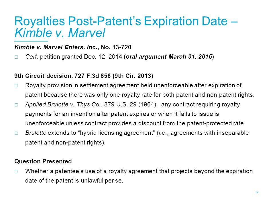 Royalties Post-Patent's Expiration Date – Kimble v.