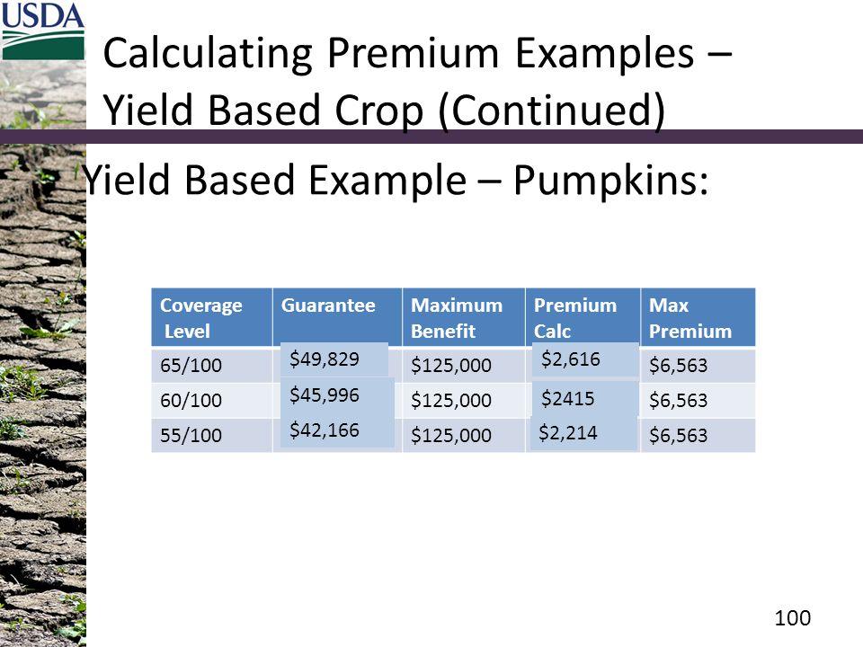 Calculating Premium Examples – Yield Based Crop (Continued) Yield Based Example – Pumpkins: Coverage Level GuaranteeMaximum Benefit Premium Calc Max Premium 65/100$149,500$125,000$7,849$6,563 60/100$138,000$125,000$7,245$6,563 55/100$126,500$125,000$6,641$6,563 100 $49,829$2,616 $45,996 $2415 $42,166 $2,214