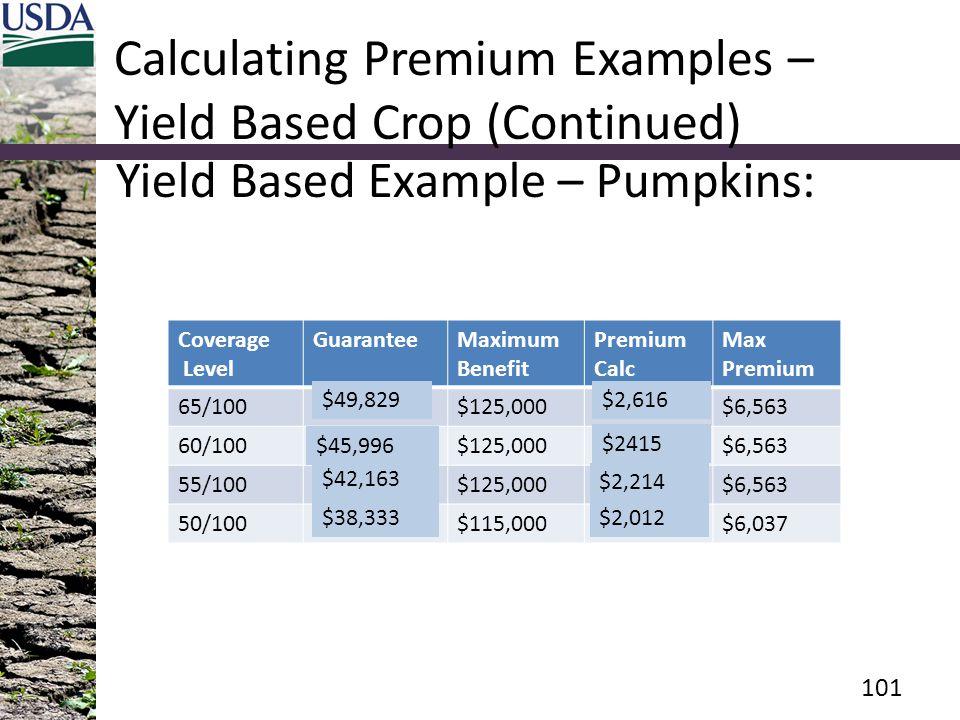 Calculating Premium Examples – Yield Based Crop (Continued) Yield Based Example – Pumpkins: Coverage Level GuaranteeMaximum Benefit Premium Calc Max Premium 65/100$149,500$125,000$7,849$6,563 60/100$138,000$125,000$7,245$6,563 55/100$126,500$125,000$6,641$6,563 50/100$115,000 $6,037 101 $49,829 $45,996 $42,163 $38,333 $2,616 $2415 $2,214 $2,012