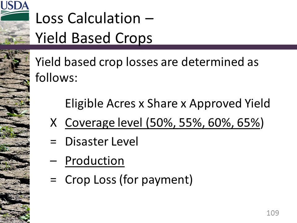 Loss Calculation – Yield Based Crops Yield based crop losses are determined as follows: Eligible Acres x Share x Approved Yield XCoverage level (50%,