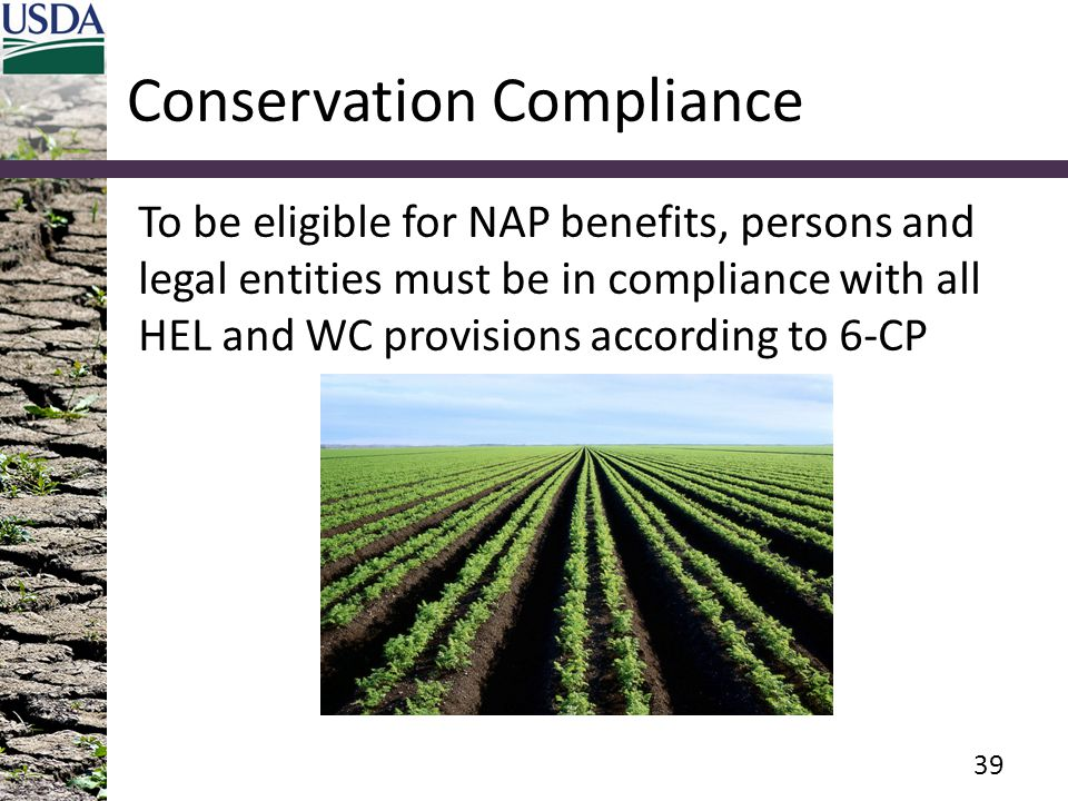 Conservation Compliance To be eligible for NAP benefits, persons and legal entities must be in compliance with all HEL and WC provisions according to 6-CP 39