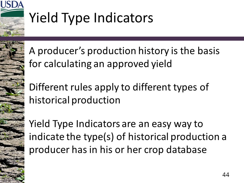 Yield Type Indicators A producer's production history is the basis for calculating an approved yield Different rules apply to different types of historical production Yield Type Indicators are an easy way to indicate the type(s) of historical production a producer has in his or her crop database 44