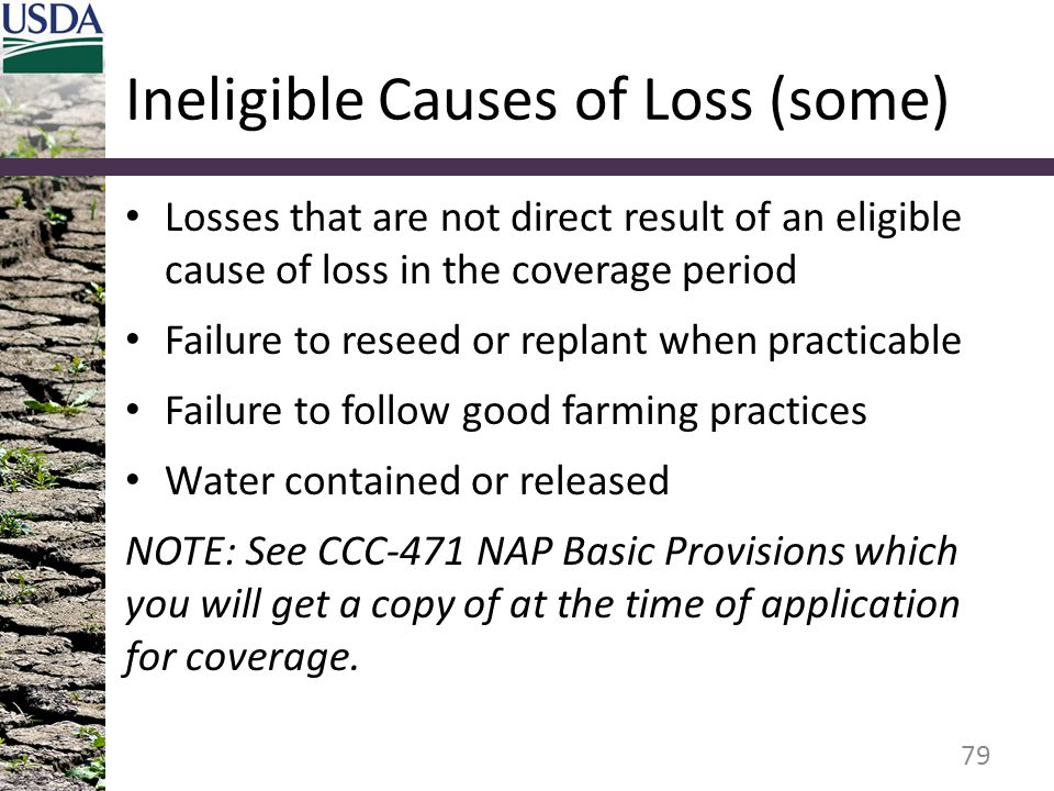 Ineligible Causes of Loss (some) Losses that are not direct result of an eligible cause of loss in the coverage period Failure to reseed or replant wh
