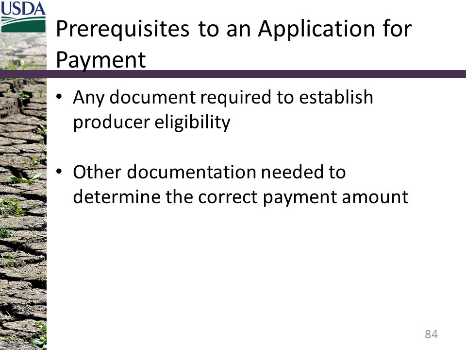 Prerequisites to an Application for Payment Any document required to establish producer eligibility Other documentation needed to determine the correc