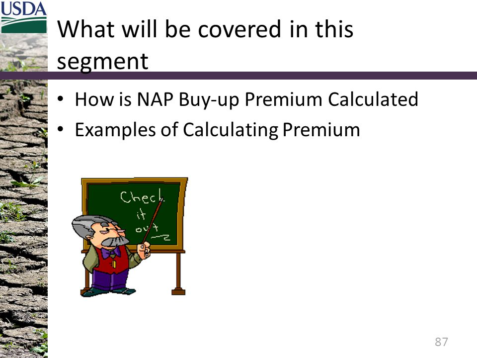 What will be covered in this segment How is NAP Buy-up Premium Calculated Examples of Calculating Premium 87