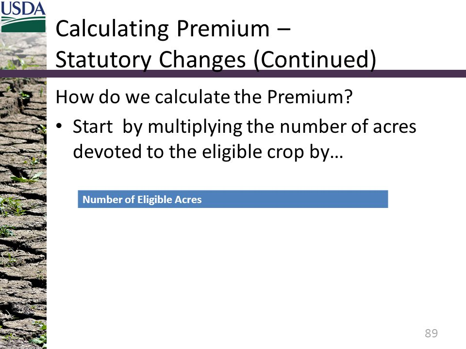Calculating Premium – Statutory Changes (Continued) How do we calculate the Premium.