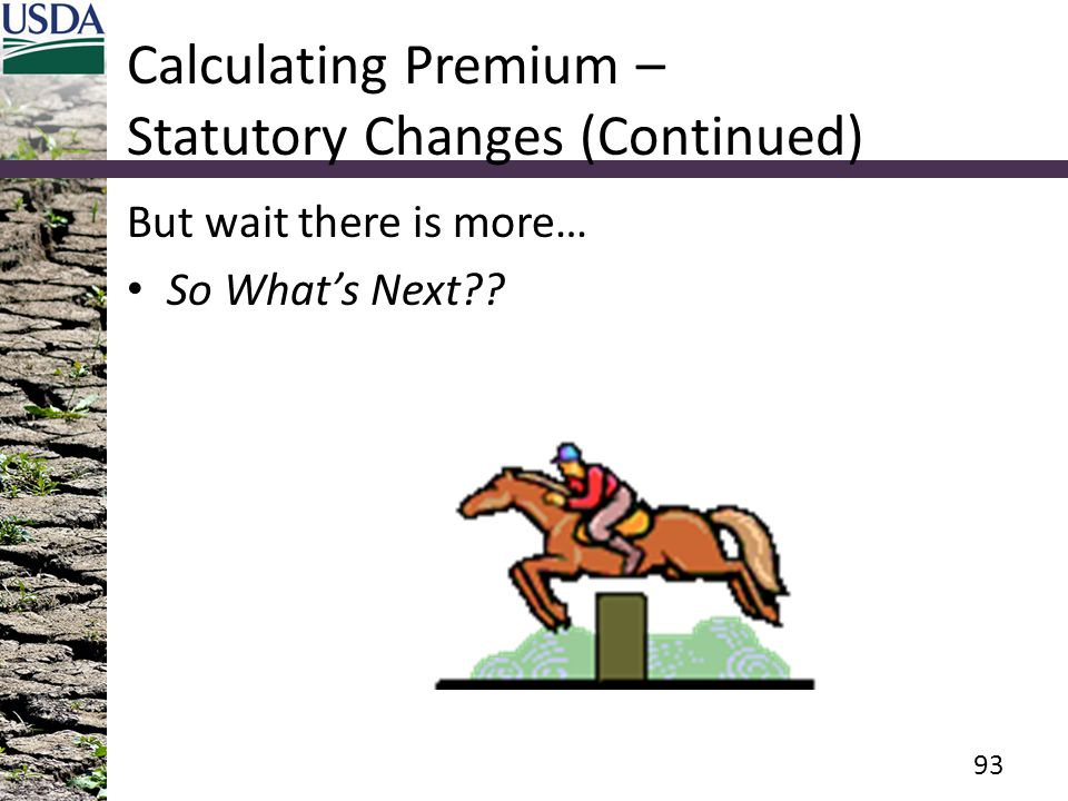 Calculating Premium – Statutory Changes (Continued) But wait there is more… So What's Next?? 93