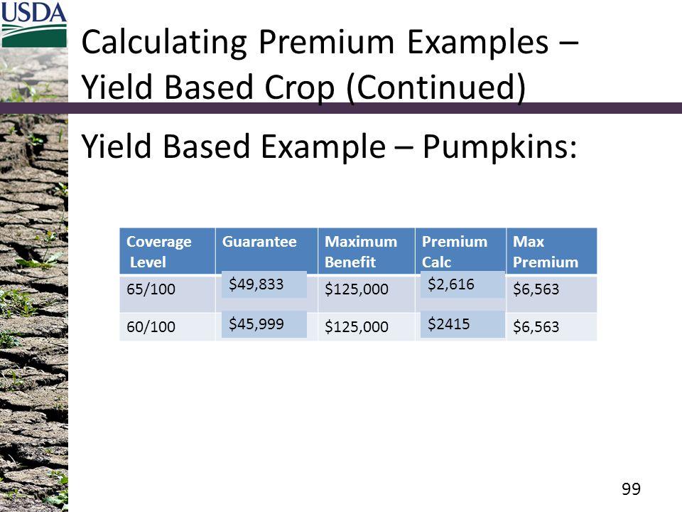 Calculating Premium Examples – Yield Based Crop (Continued) Yield Based Example – Pumpkins: Coverage Level GuaranteeMaximum Benefit Premium Calc Max Premium 65/100$149,500$125,000$7,849$6,563 60/100$138,000$125,000$7,245$6,563 99 $2,616$49,833 $45,999$2415
