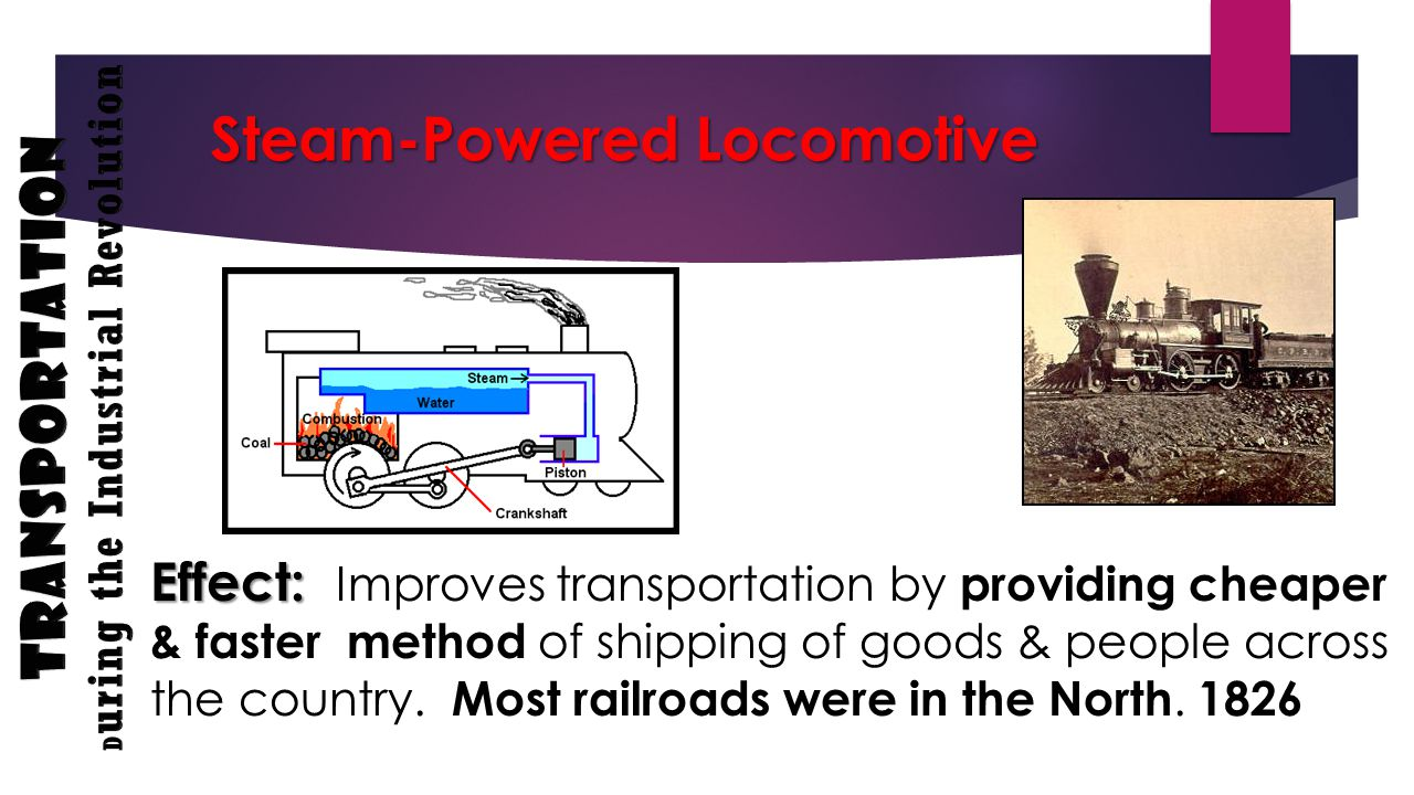 Steam-Powered Locomotive Effect: Effect: Improves transportation by providing cheaper & faster method of shipping of goods & people across the country.