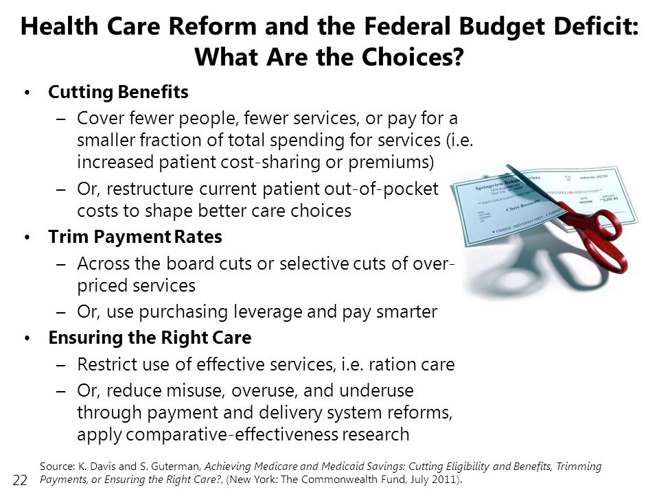 22 Health Care Reform and the Federal Budget Deficit: What Are the Choices.