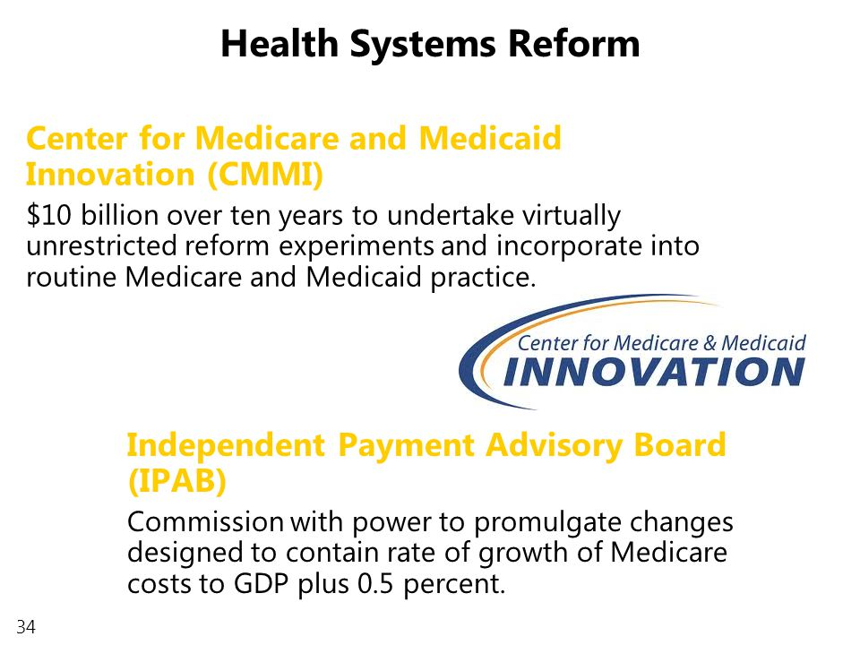 34 Independent Payment Advisory Board (IPAB) Commission with power to promulgate changes designed to contain rate of growth of Medicare costs to GDP plus 0.5 percent.