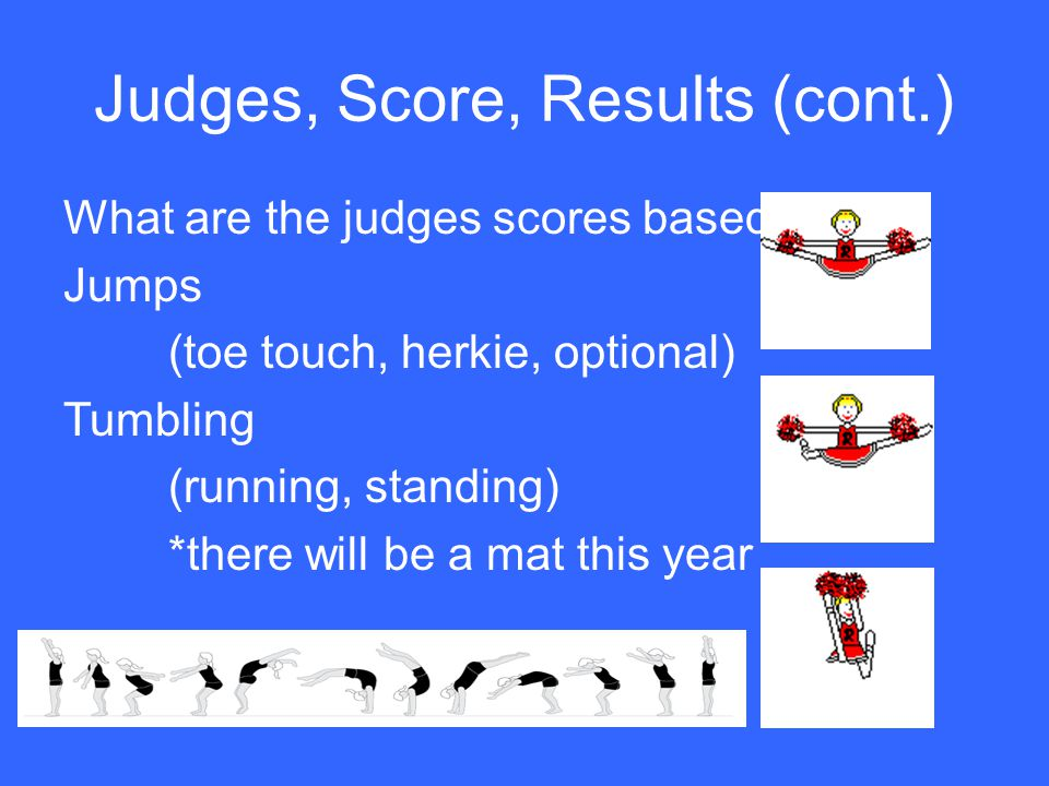 Judges, Score, Results (cont.) What are the judges scores based on.