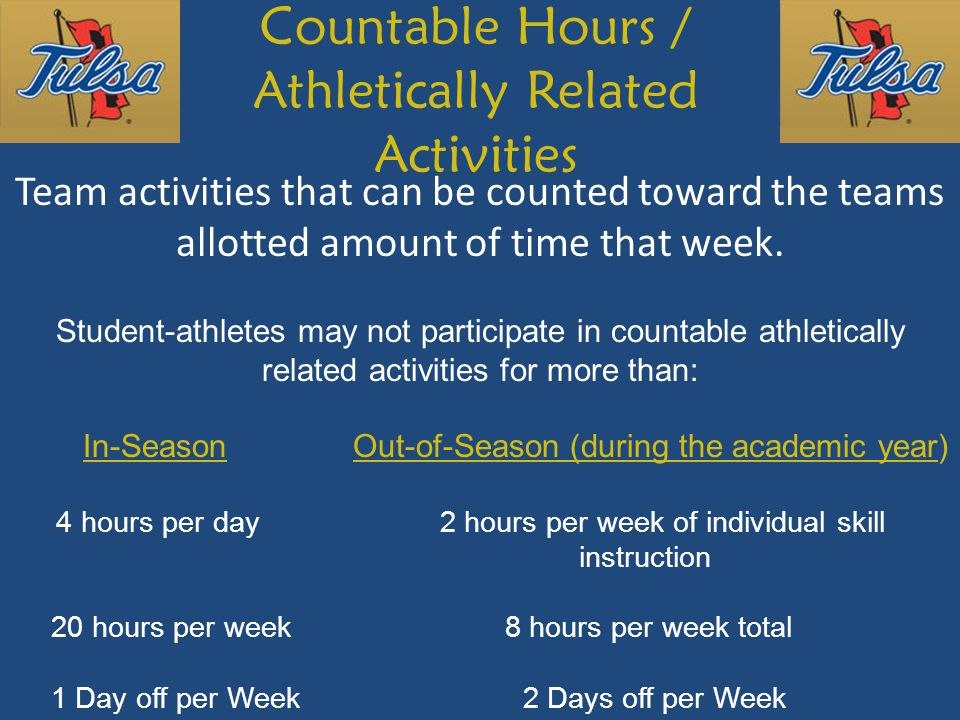Countable Hours / Athletically Related Activities Team activities that can be counted toward the teams allotted amount of time that week.