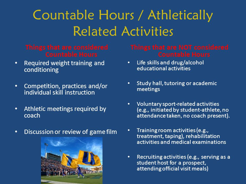Countable Hours / Athletically Related Activities Things that are considered Countable Hours Required weight training and conditioning Competition, practices and/or individual skill instruction Athletic meetings required by coach Discussion or review of game film Things that are NOT considered Countable Hours Life skills and drug/alcohol educational activities Study hall, tutoring or academic meetings Voluntary sport-related activities (e.g., initiated by student-athlete, no attendance taken, no coach present).