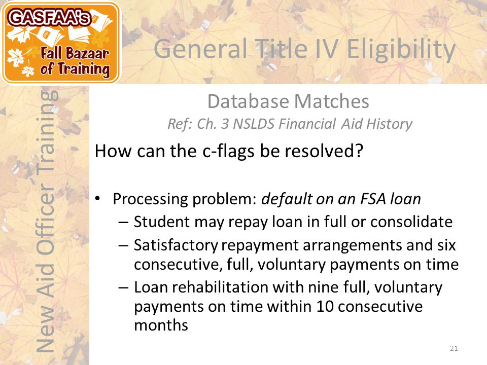 New Aid Officer Training General Title IV Eligibility How can the c-flags be resolved.