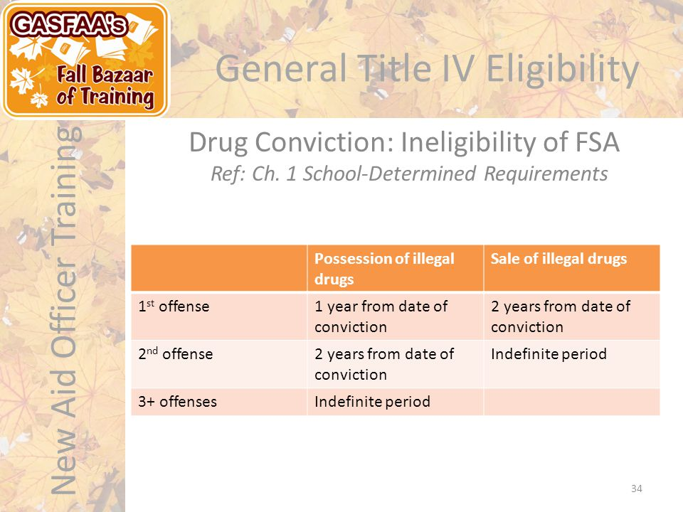 New Aid Officer Training General Title IV Eligibility Possession of illegal drugs Sale of illegal drugs 1 st offense1 year from date of conviction 2 years from date of conviction 2 nd offense2 years from date of conviction Indefinite period 3+ offensesIndefinite period Drug Conviction: Ineligibility of FSA Ref: Ch.