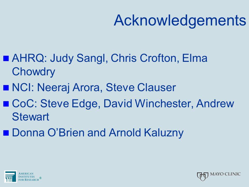 ®® Acknowledgements AHRQ: Judy Sangl, Chris Crofton, Elma Chowdry NCI: Neeraj Arora, Steve Clauser CoC: Steve Edge, David Winchester, Andrew Stewart Donna O'Brien and Arnold Kaluzny