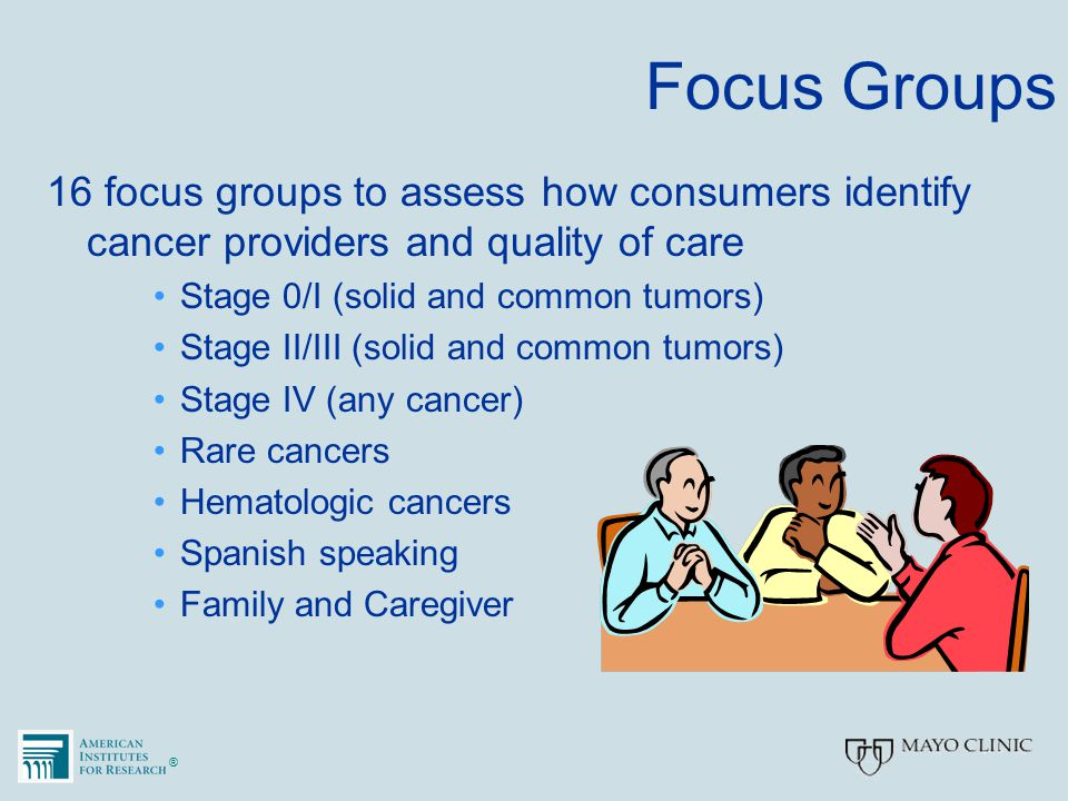 ®® Focus Groups 16 focus groups to assess how consumers identify cancer providers and quality of care Stage 0/I (solid and common tumors) Stage II/III