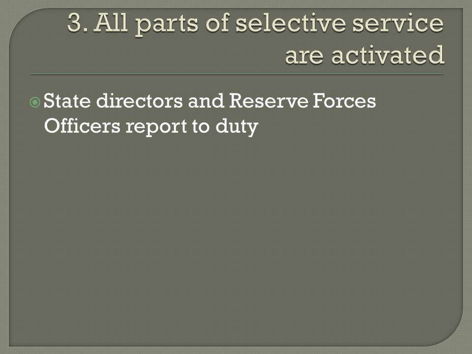  State directors and Reserve Forces Officers report to duty