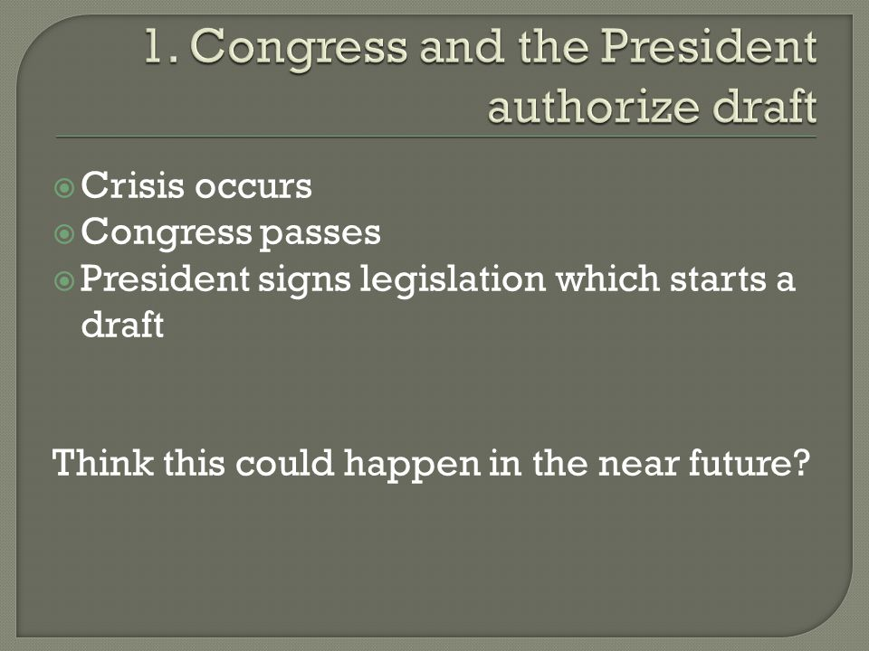  Crisis occurs  Congress passes  President signs legislation which starts a draft Think this could happen in the near future?