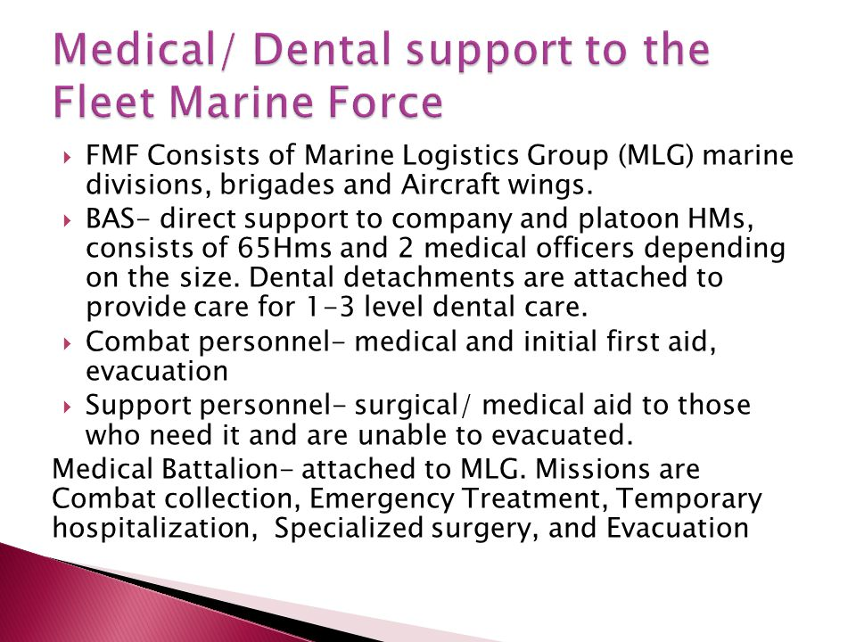  FMF Consists of Marine Logistics Group (MLG) marine divisions, brigades and Aircraft wings.  BAS- direct support to company and platoon HMs, consis