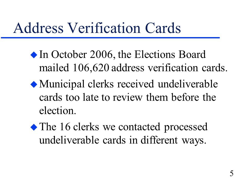 6 Concerns with the Statewide Voter Registration System u Municipal clerks raised concerns with the system's slow operating speed, cumbersome nature, and ability to: –track provisional ballots; –process absentee ballots; and –suspend voter registrations.
