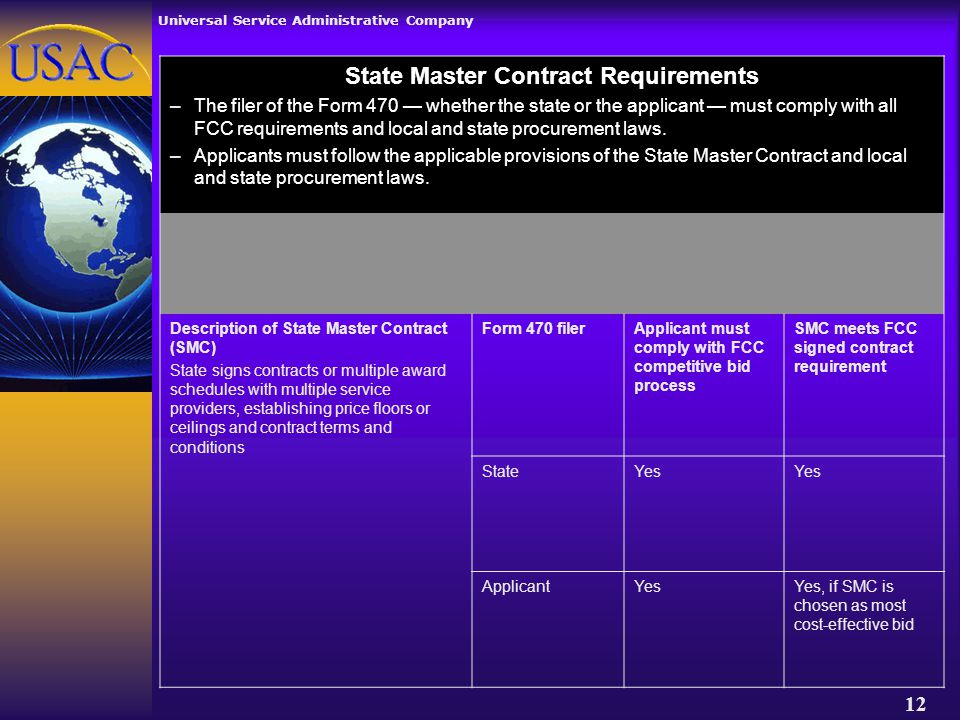 Universal Service Administrative Company 12 State Master Contract Requirements –The filer of the Form 470 — whether the state or the applicant — must comply with all FCC requirements and local and state procurement laws.