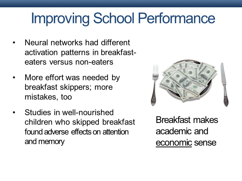 Improving School Performance Breakfast makes academic and economic sense Neural networks had different activation patterns in breakfast- eaters versus non-eaters More effort was needed by breakfast skippers; more mistakes, too Studies in well-nourished children who skipped breakfast found adverse effects on attention and memory