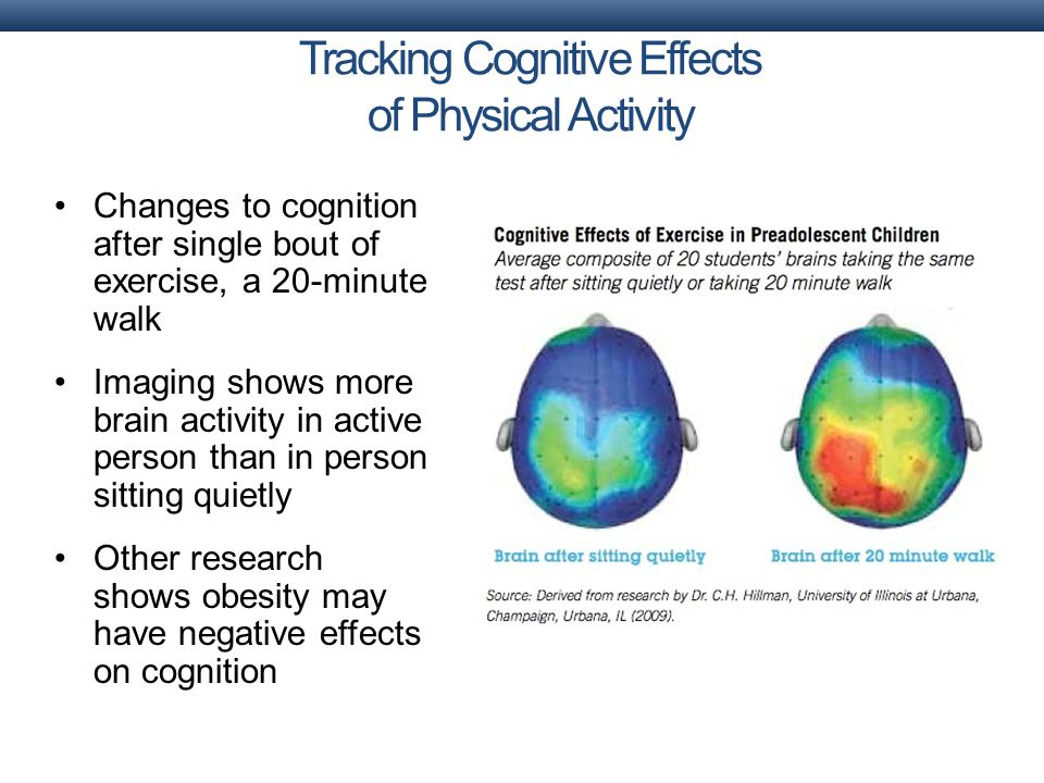 Changes to cognition after single bout of exercise, a 20-minute walk Imaging shows more brain activity in active person than in person sitting quietly Other research shows obesity may have negative effects on cognition Tracking Cognitive Effects of Physical Activity