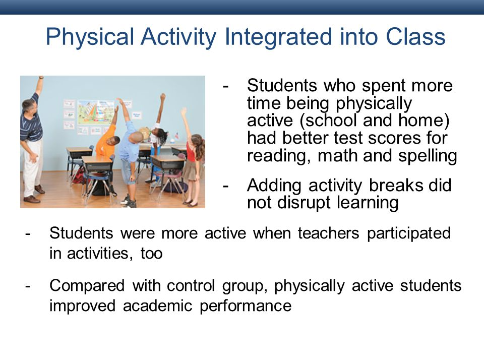 Physical Activity Integrated into Class -Students who spent more time being physically active (school and home) had better test scores for reading, math and spelling -Adding activity breaks did not disrupt learning -Students were more active when teachers participated in activities, too -Compared with control group, physically active students improved academic performance