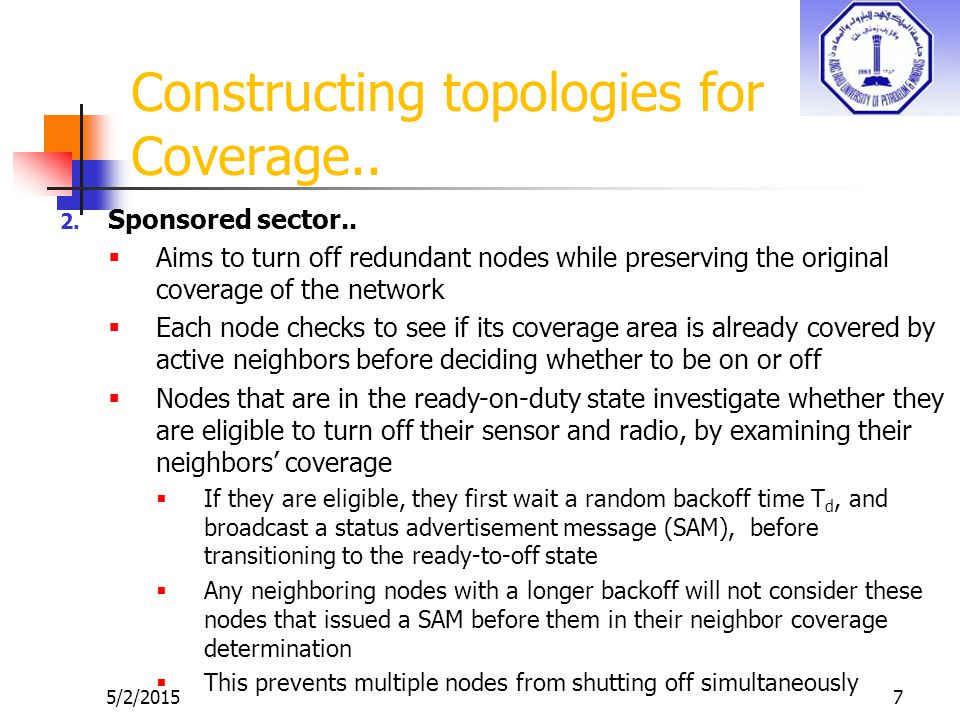 5/2/20157 Constructing topologies for Coverage.. 2.