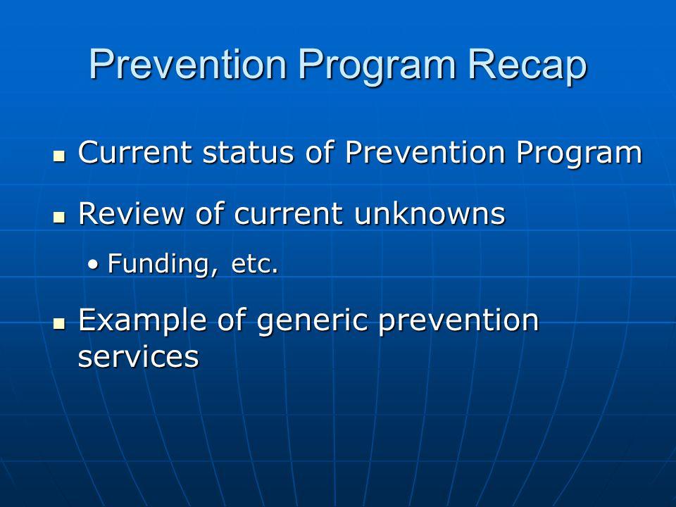 Prevention Program Recap Current status of Prevention Program Current status of Prevention Program Review of current unknowns Review of current unknowns Funding, etc.Funding, etc.