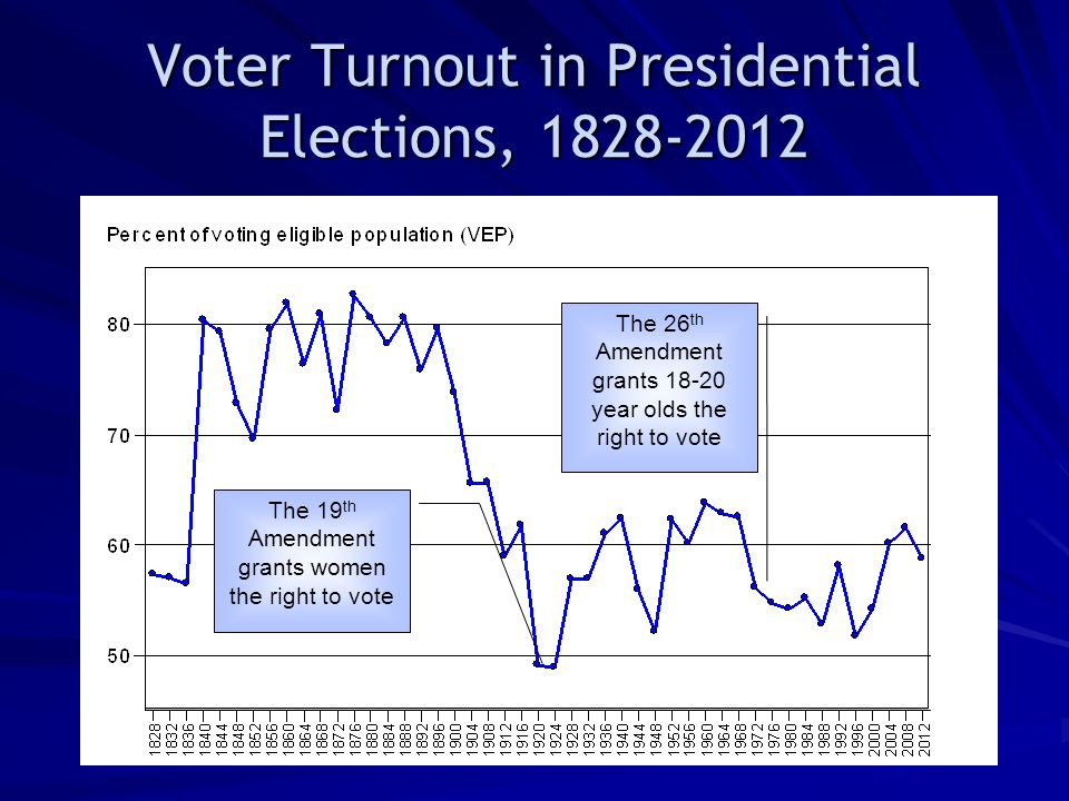 Voter Turnout in Presidential Elections, 1828-2012