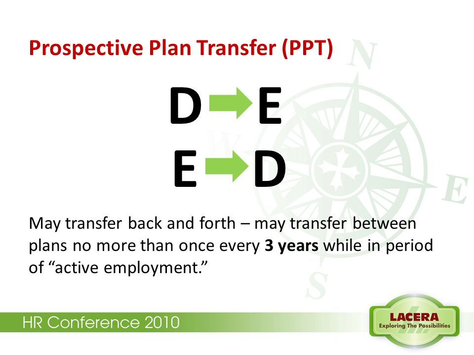 "Prospective Plan Transfer (PPT) D E E D May transfer back and forth – may transfer between plans no more than once every 3 years while in period of ""a"
